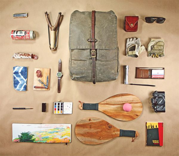 Adam Gray  A quick glance at the contents inside the bag and you can tell that Adam Gray is someone who loves the outdoors. The artist from San Francisco has a huge imagination as indicated by his selection. Definitely someone with a wide range of interests.