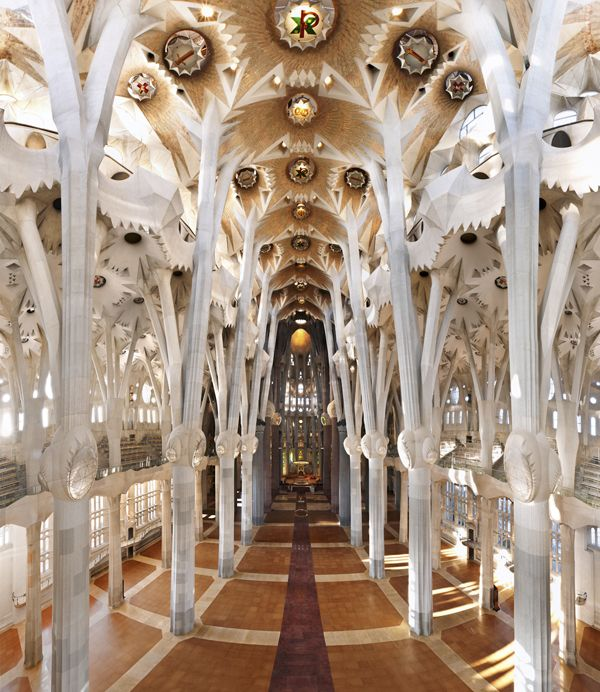 Another view of the inside of Sagrada Familia Church in Barcelona, Spain
