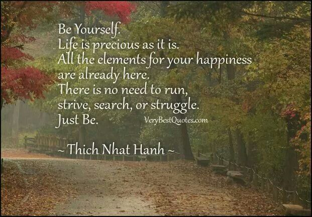 """Be Yourself. Life is precious as it is. All the elements for your happiness are already here. There is no need to run, strive, search, or struggle. Just Be."" ~Thich Nhat Hanh:"