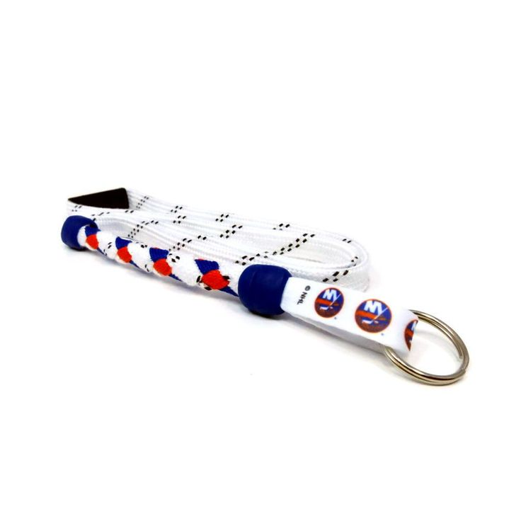 New York Islanders braided hockey lace lanyard. Braided with actual hockey skate lace and team colors. Made with a high detail logo team logo tag.