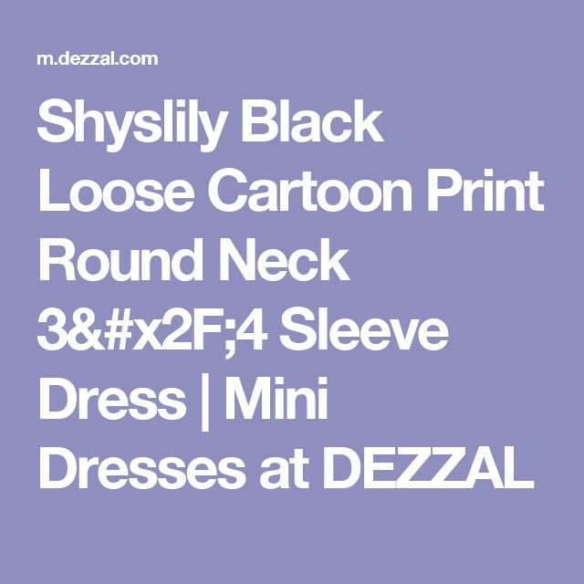 Shyslily Black Loose Cartoon Print Round Neck 3/4 Sleeve Dress | Mini Dresses at DEZZAL