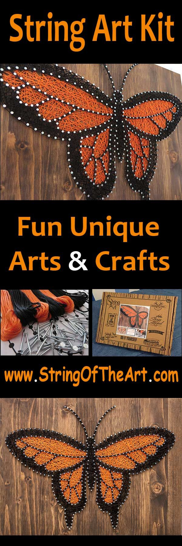 DIY String Art Crafts Kit - Butterfly String Art, Monarch Butterfly String Art.  This Beautiful monarch butterfly home decor DIY Kit comes with embroidery floss, hand sanded and stained wood board, wire nails, pattern template, and instructions.