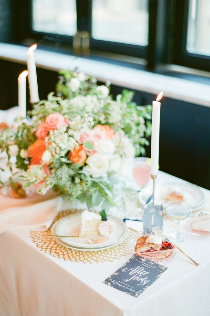 #tablescape #peach #gold Photography: Brklyn View Photography - www.brklynview.com, Florals by http://www.lindsayraedesign.com, Event Design by http://www.lindsayraedesign.com, Paper Goods by http://www.1440nyc.com   Read More: http://stylemepretty.com/2013/10/14/after-wedding-inspiration-from-michelle-edgemont-brklyn-view-photography/
