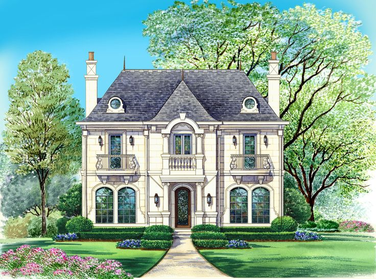 Chateau home style laurette chateau timber frame home plan for French country house plans