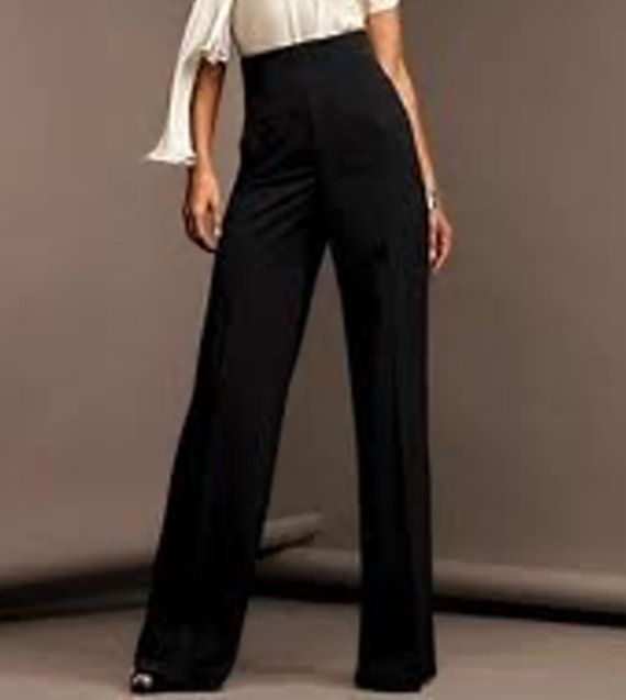 Great pants  High waist wide pants made of Black Crepe Georgette,High Fashion CUSTOM ORDER, sizes from 2 to 18 or your measurements