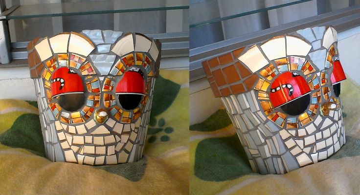 Made this mosaic wall planter pot with broken china and glass mosaic tiles for a friend's birtday