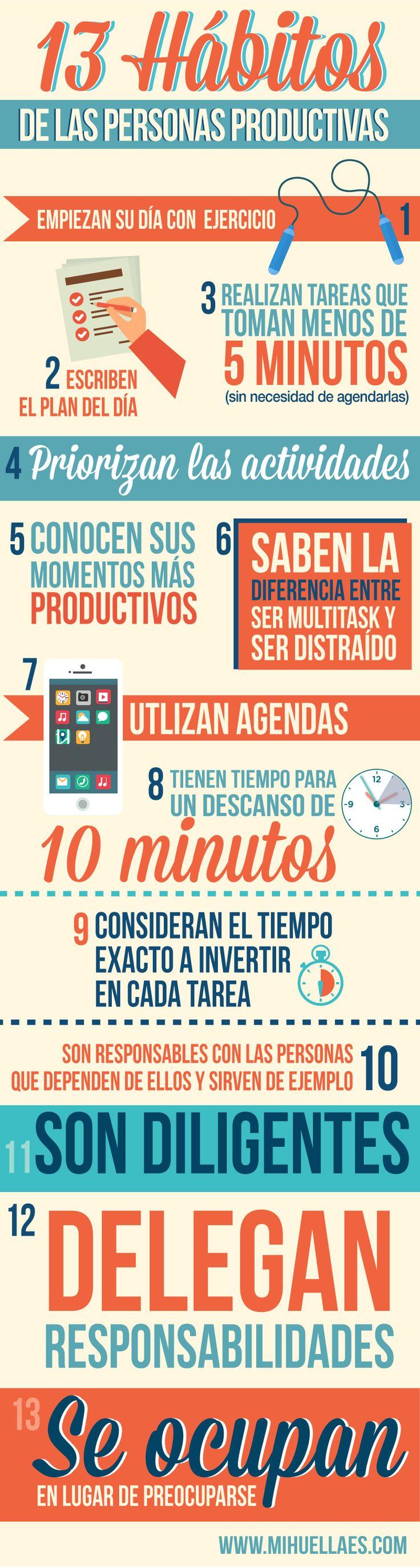 Infografía: 13 hábitos de las personas productivas.