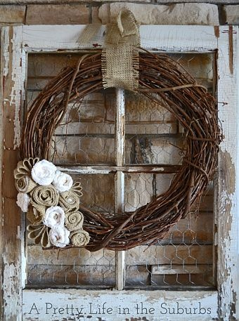 cute for front porch,,,,burlap and grapevine wreath with an old window