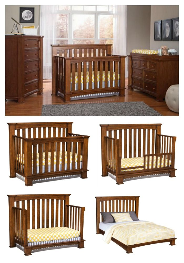 Beautiful and sophisticated, this 4-in-1 convertible cribeasily grows with your child both in size and style. Designed to convert from a crib to a toddler bed, daybed, and then a full-size bed, this solid wood crib comes in a bali finish and meets or exceeds all government safety standards.