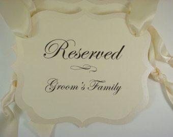 Reservados asientos Pew signos para estar familia de por wedology
