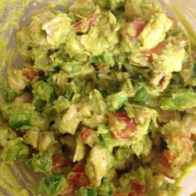 Guacamole Chicken Salad: Mix 8oz chicken diced or pulled, 1/2 diced green pepper, small tomato diced, 1/2 cup guacamole (~1 avocado)