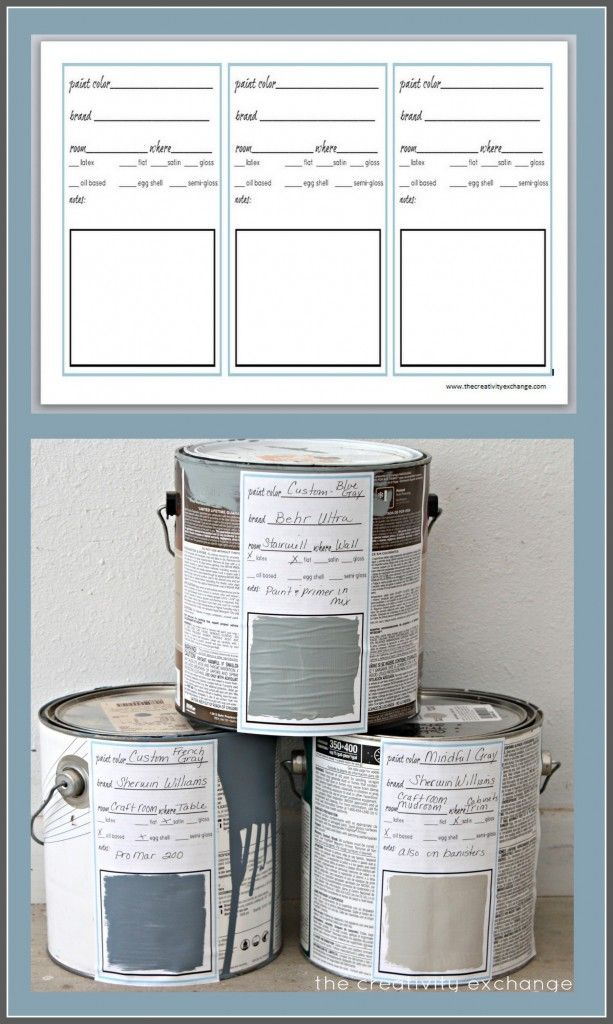 Free printable label and binder sheet for labeling paint and creating a binder for all your home paint colors. The Creativity Exchange...