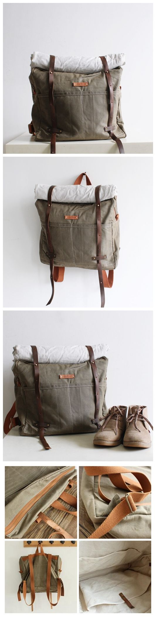 Handmade Waxed Canvas School Backpack Travel Rucksack Vintage Canvas Backpack 14053