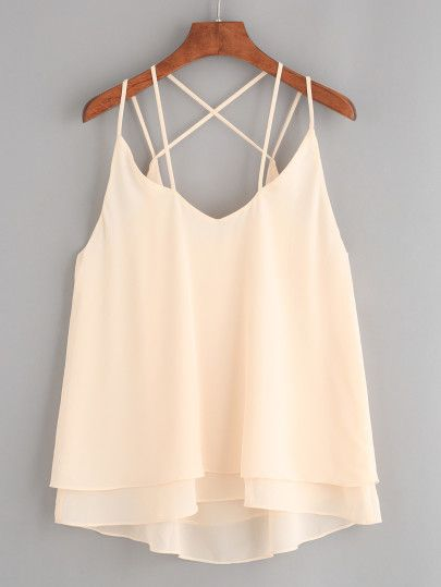 Apricot Strappy Layered Chiffon Cami Top