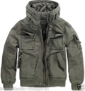 Brandit Parka Jacket Vintage Bronx Military Style Short Army Olive And Black