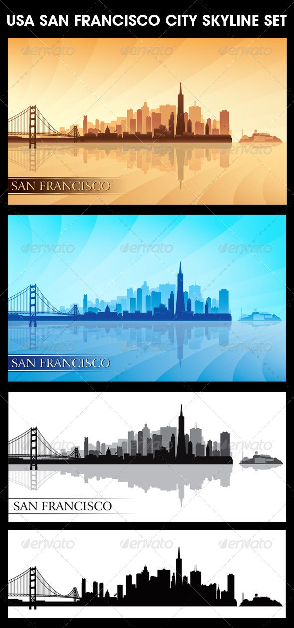 San Francisco USA City Skyline Silhouettes Set - Backgrounds Decorative