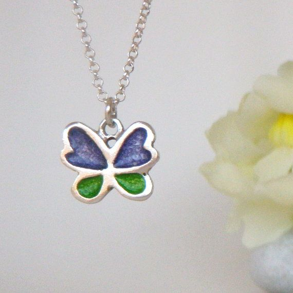 BUTTERFLY MINI PENDANT, sterling silver with enamel, handmade item, handpainted iterm, girft for a girl,   child,  pendant,  spring lovers