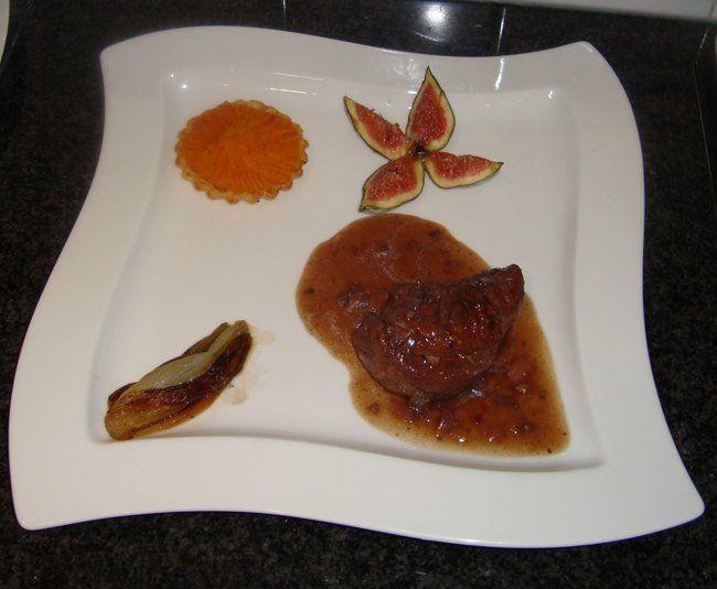 Recept voor Fazant met vijg, witloof en taartje met zoete aardappel. Meer…