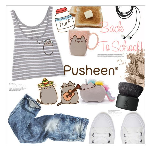 """""""Back to School with Pusheen"""" by mycherryblossom ❤ liked on Polyvore featuring Bobbi Brown Cosmetics, Pusheen, Converse, NARS Cosmetics, contestentry and PVxPusheen"""