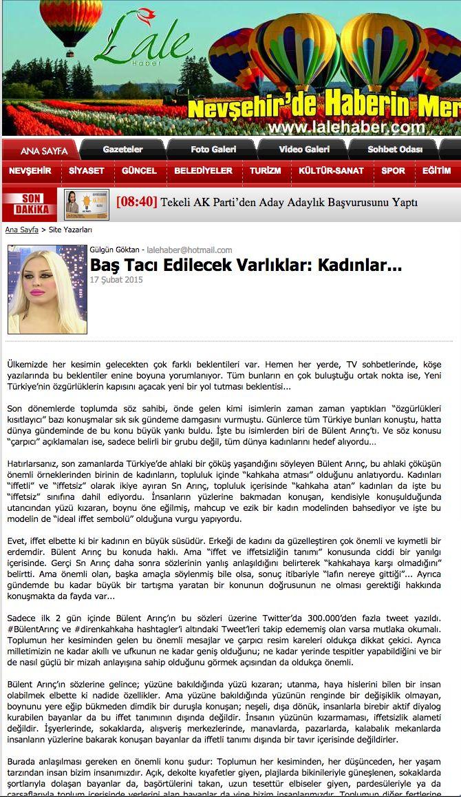 #LaleHaber #GülgünGöktan #makale #kadın #kahkaha #özgürlük #Türkiye http://lalehaber.com/yazaruyeyazi/%E2%80%8BBas-Taci-Edilecek-Varliklar_-Kadinlar.../155