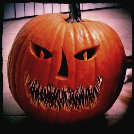 Use toothpicks for a cool effect in your pumpkins mouth!