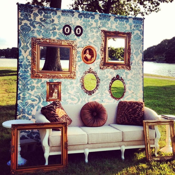 photo booth wall backdrop...cloth with cut out frames!