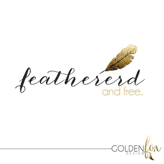 Premade logo, fashion, blogger, photographer, gold glitter, feather, Watermark Logo Photography Event by GoldenFoxDesign, $35.00