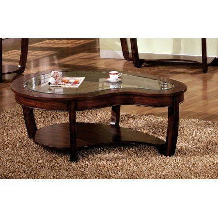 Furniture Of America Revels Transitional Glass Coffee Table Dark