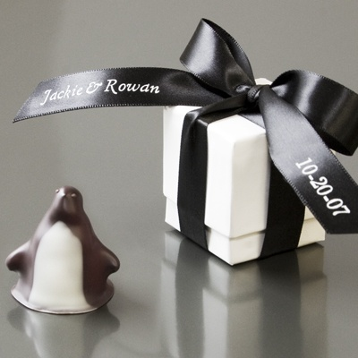 Chocolate penguin wedding favors