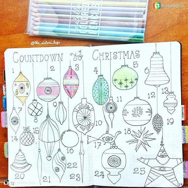 What a fun countdown to Christmas. Won't it look great when finished? from @the_sisters_bujo (#bulletjournalcollection)