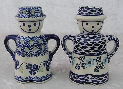 Polish Pottery Poland-Blue & White Man & Woman Salt & Pepper Shakers
