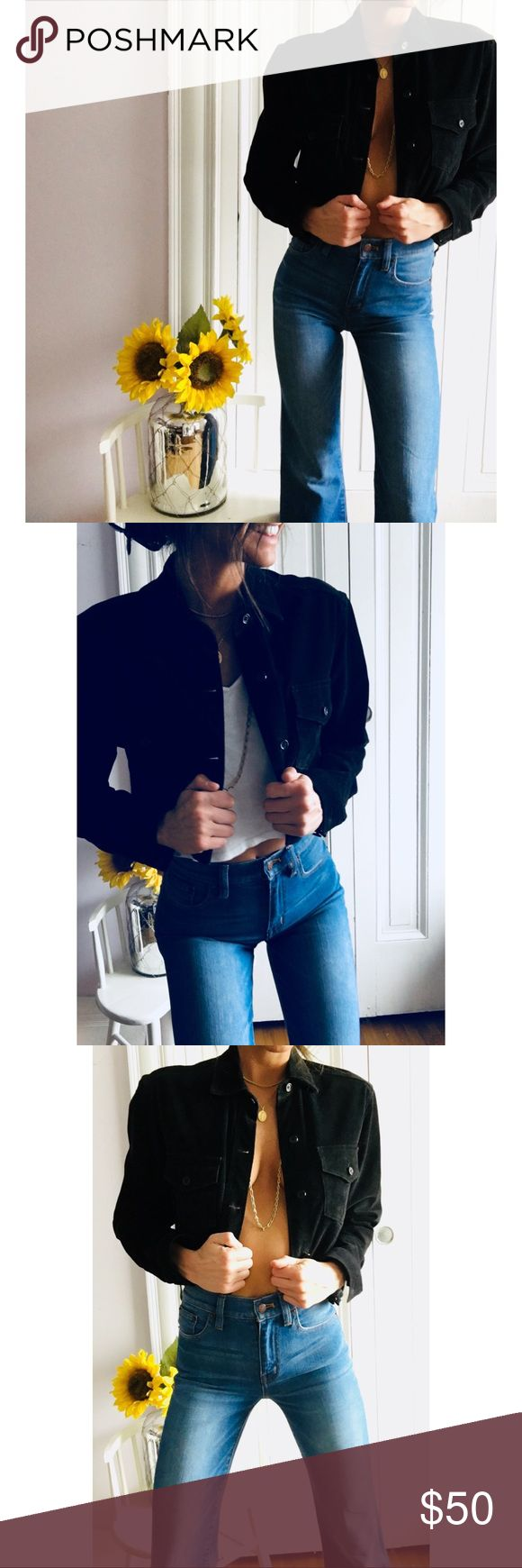 French Connection Full Black Suede Coat! So cute! Amazing cropped completely leather suede French Connection jacket! I love this coat & am so sad to see it leaving my closet! Goes adorable to country concerts, festivals, & even over sweaters in the winter! Great addition to any closet!   ———-  #frenchconnection #suede #leather #black #cowgirl #cropped #jacket #coat #outerwear French Connection Jackets & Coats