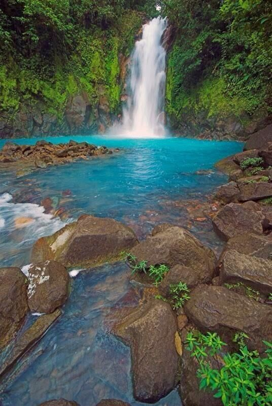 Rio Celeste, Costa Rica. Hidden within the cloud forests of Tenorio National Park, the magnificent bright blue Rio Celeste Waterfall will take your breath away.