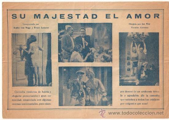 Cine: SU MAJESTAD EL AMOR PROGRAMA DOBLE CINAES KATHE VON NAGY FRANCIS LEDERER - Foto 2 - 30069314