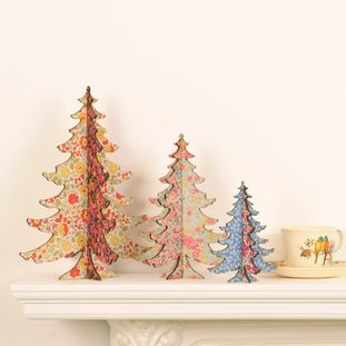 Christmas tree - vintage floral fabric - Alternative Christmas trees