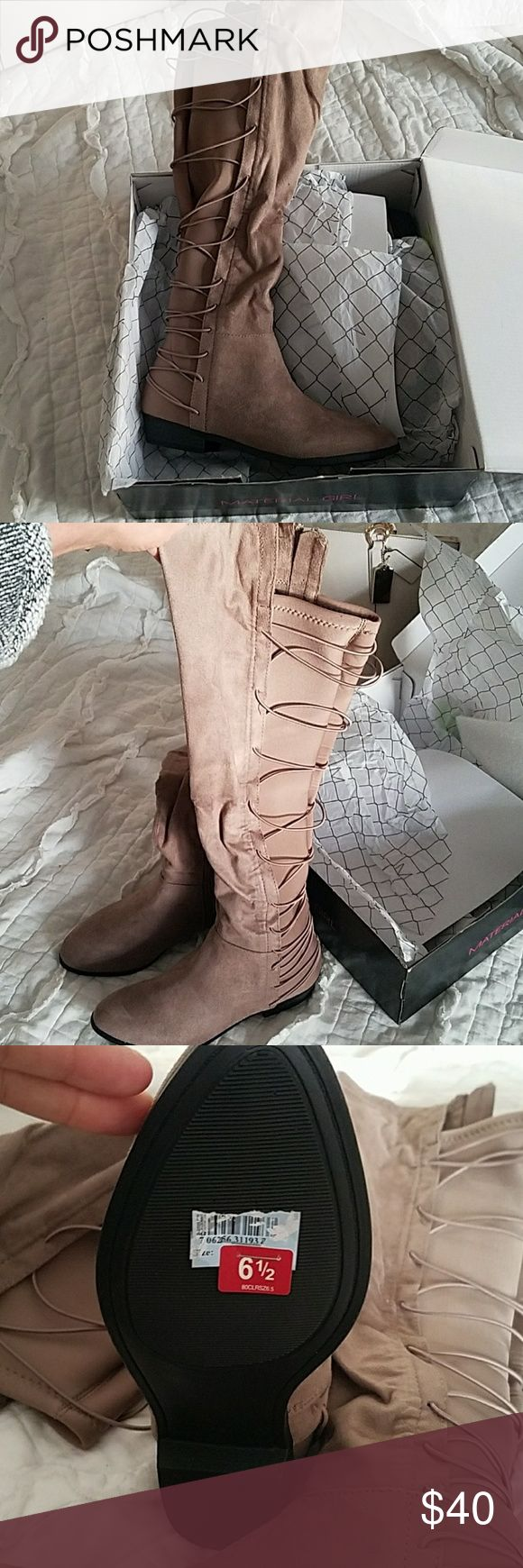 BNWT! GORGEOUS laced up boots in the back! BNWT! GORGEOUS laced up boots in the back! Sued lime material. Never WORN! Srill in box! Comes just up to knees. I wish these fit me.  They are a friends and I'm an 8.  Take advantage of this awesome deal!! Material Girl Shoes Over the Knee Boots