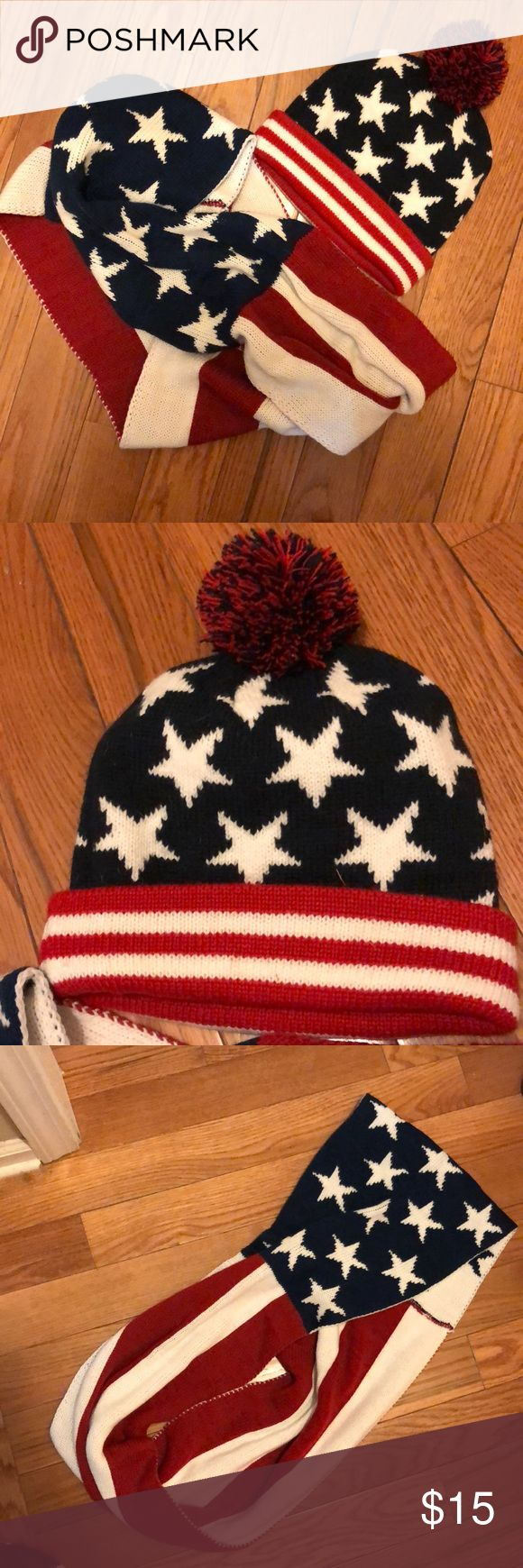 American Flag Scarf and Hat Old together or seperate! An American flag beanie with infinity scarf! Small stain on scarf that can be covered if layered scarf to cover! Accessories Scarves & Wraps