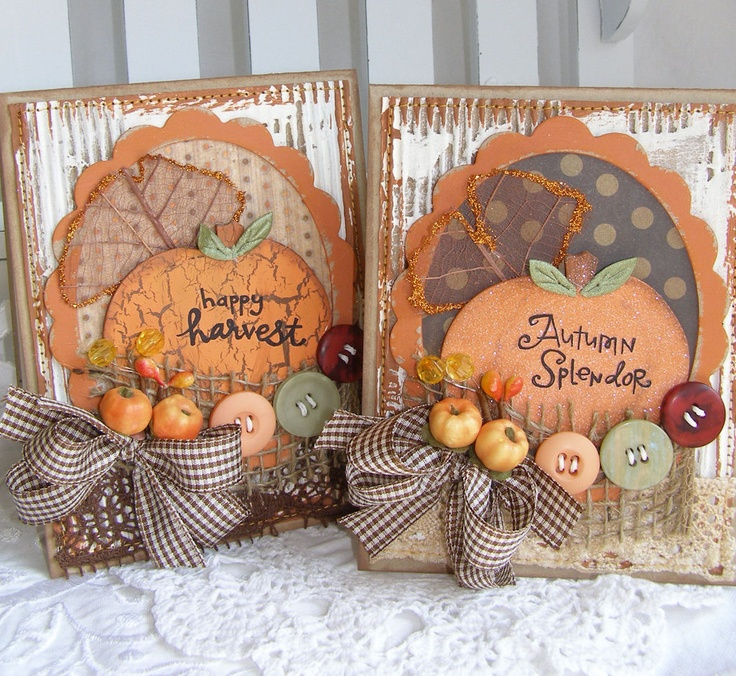 163 best handmade autumn cards images on pinterest for Handmade thanksgiving decorations