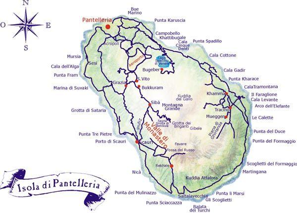 La cartina dell'Isola di Pantelleria