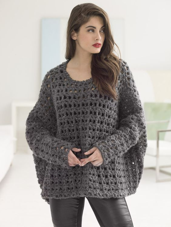 If you have 9 balls of Wool-Ease® Thick & Quick®, you can soon have our new Crochet Popover Top! Made with Size N-13 (9 mm) hook.:
