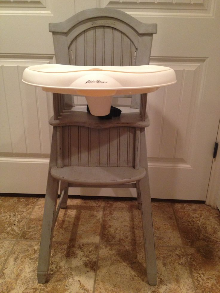Shabby Chic Eddie Bauer high chair. Paris grey Annie Sloan chalk paint distressed then coated with dark wax.