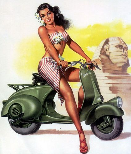 Pin-up on a vespa!