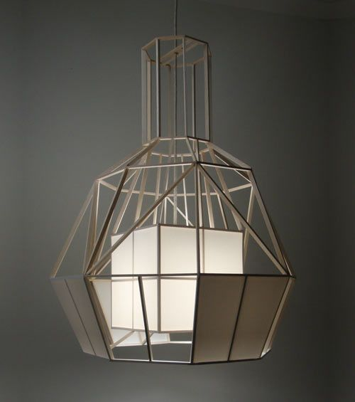 Based on a childhood love of model glider planes, Daniel Hulsbergen created the Vederlicht (Featherlight) out of the same materials as the planes and using the same technique. Not being able to afford the costly hobby as a kid fueled his fascination with it to this day, so turning it into lighting only seemed natural.