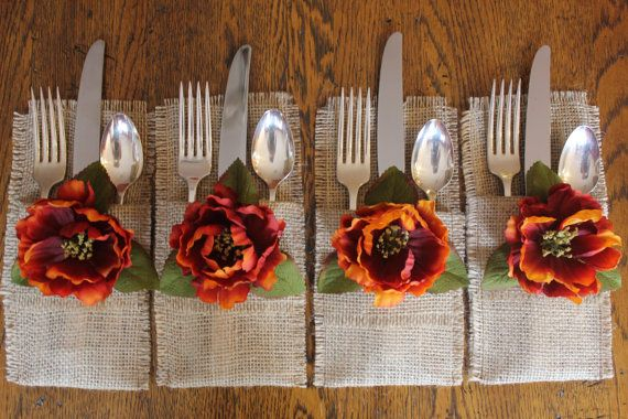 Burlap Silverware Holders with Fall Colored Silk by CrafTeaCafe, Visit my shop @ www.etsy.com/shop/CrafTeaCafe