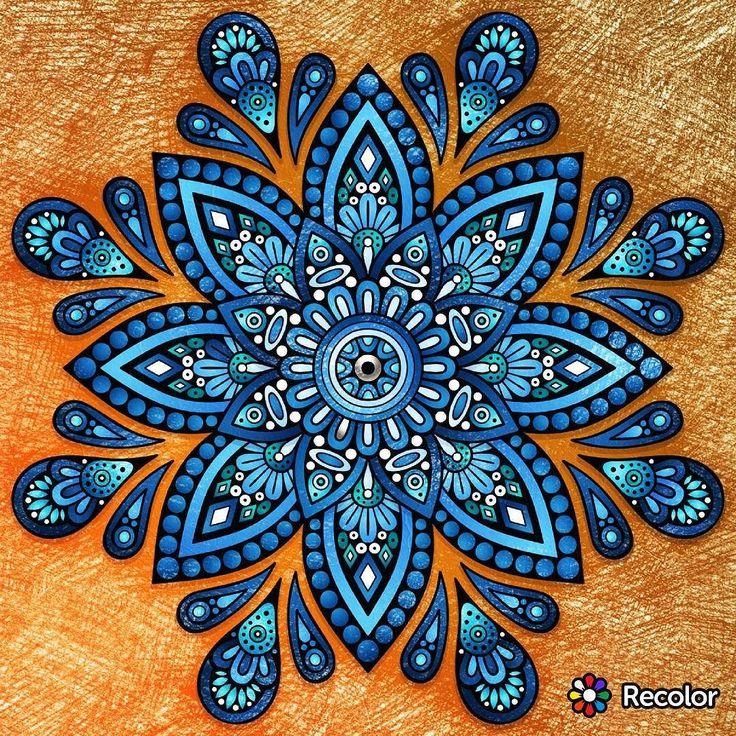 Monday Night #mandala #meditation #spiritual #coloring #recolor #blue