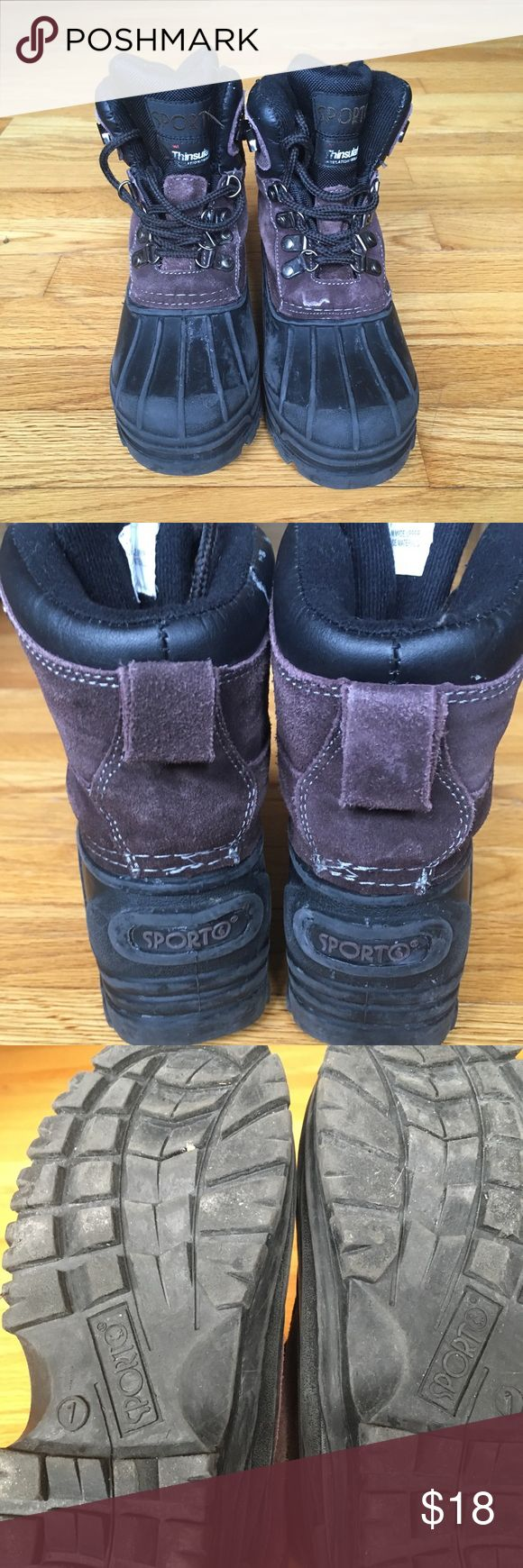 Sports Boots Youth Size 1 These Sporto boots have black rubber bottoms and brown 'suede' like tops with a velvety nap. Pre-worn with normal scuffing but still sturdy. Great for snow or rain. Sporto Shoes Rain & Snow Boots