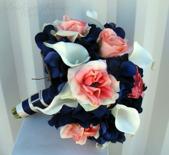 Wedding bouquet coral navy white calla lily rose bridal bouquets silk wedding flowers on Etsy, $125.00