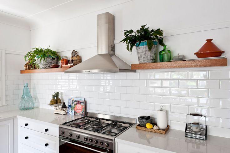 Traditional Kitchen 2pac satin profile door Floating timber shelves  Quantum Quartz Bench Top  Subway Tiles