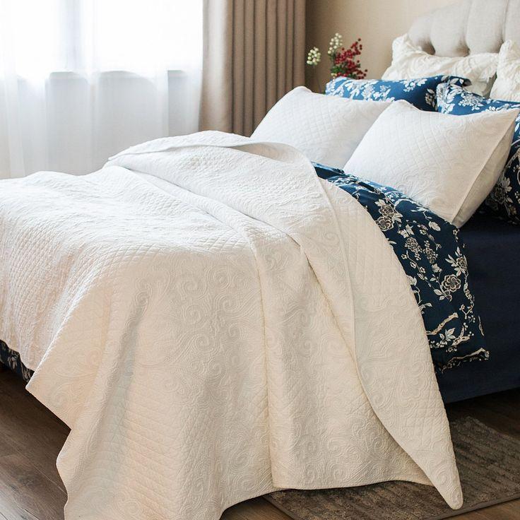 Brandream White Vintage Floral Comforter Set Queen Size Bed Quilt Set