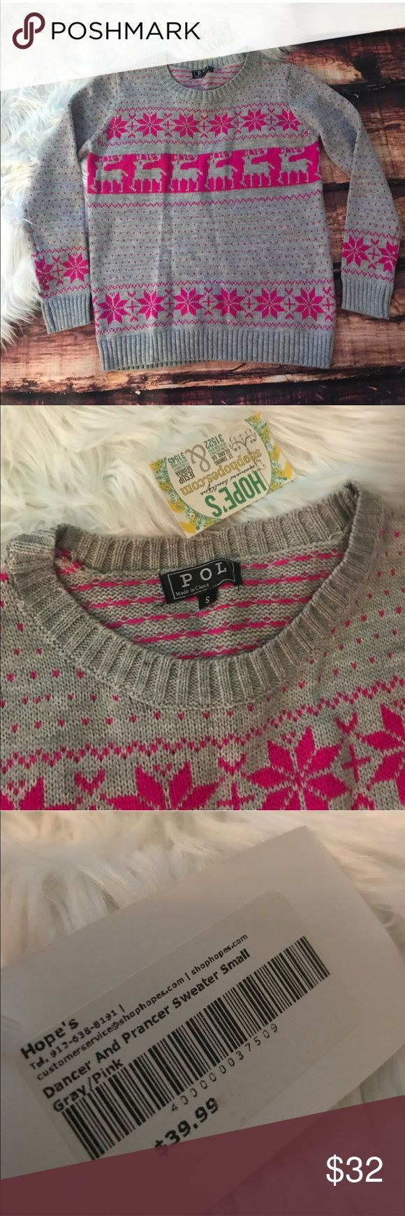 Shop Hope Boutique Christmas Reindeer Sweater New with tags Christmas sweater! From shop hopes boutique. Perfect condition. Measures approximately 19 1/2 inches from armpit to armpit shop hopes Sweaters